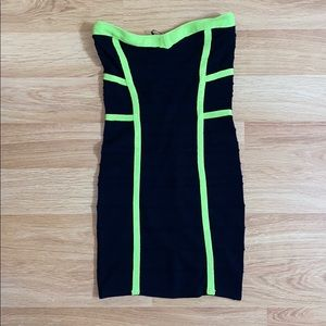 Neon green & black Cocktail dress
